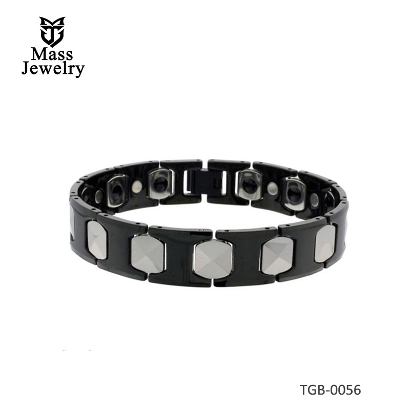 Tungsten & Ceramic Bracelet Magnetic Therapy, 2-Tone