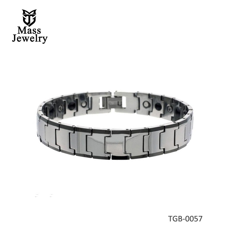 Tungsten Carbide Bracelet Magnetic Therapy Black Edge