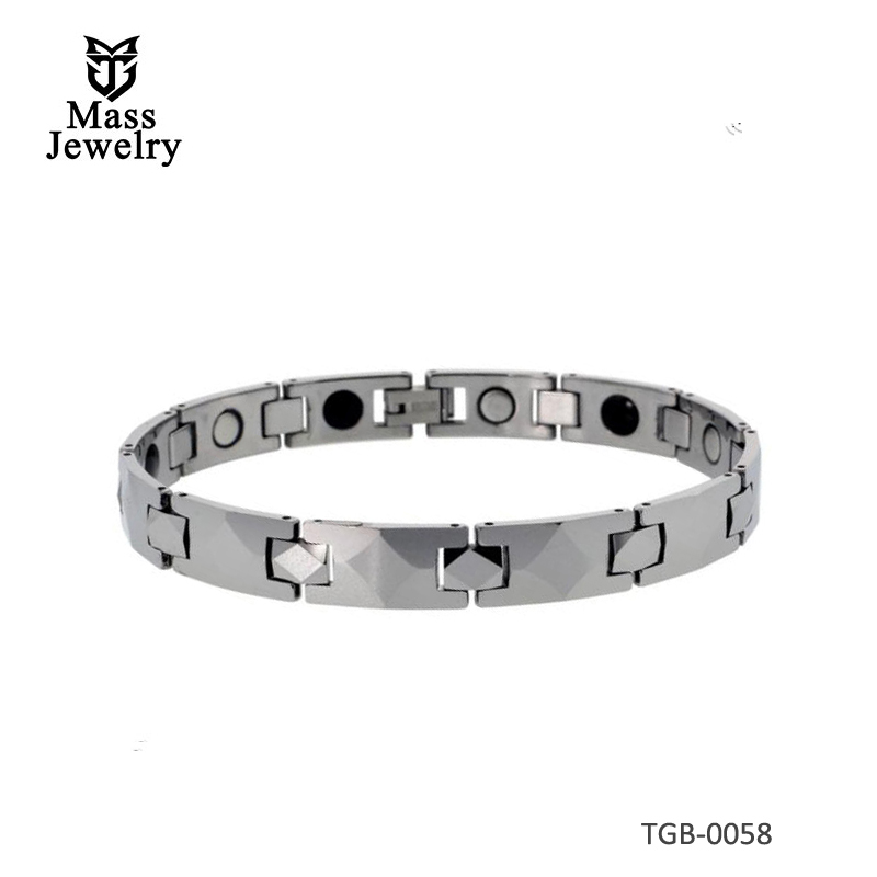 Tungsten Carbide Bracelet Magnetic Therapy Diamond-shaped Faceted Bar