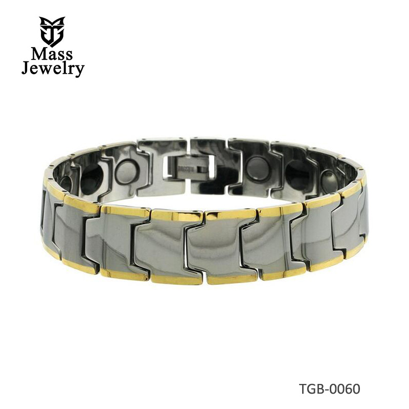 Tungsten Carbide Bracelet Magnetic Therapy Gold-tone Edge