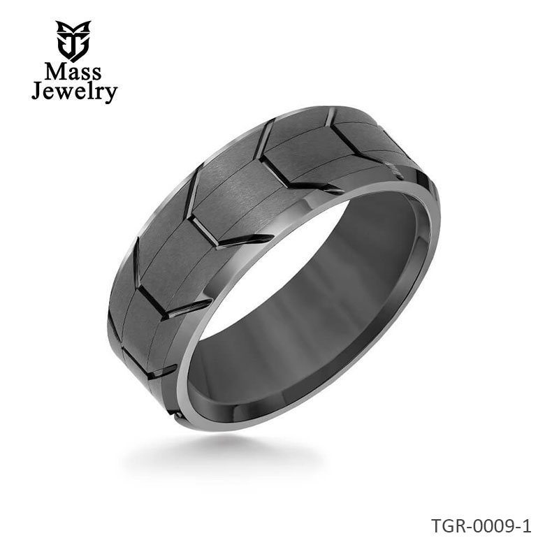 8MM Tungsten Carbide Ring - Gunmetal Tire Tread Center and Bevel Edge