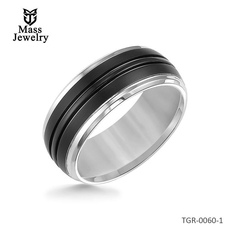 9MM Tungsten Carbide Ring - Black Brushed Center and Bevel Edge