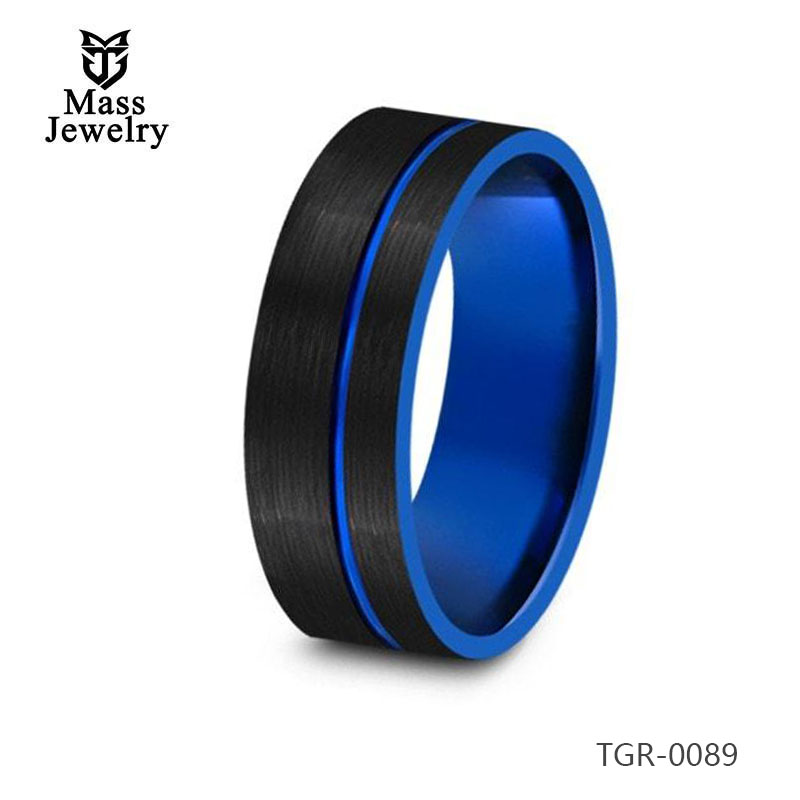 8MM Brushed Black Tungsten Wedding Band Flat And Blue Interior