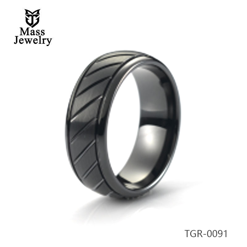 Tungsten Carbide Ring Black Plated Brushed and Stepped Edges Mens Ring