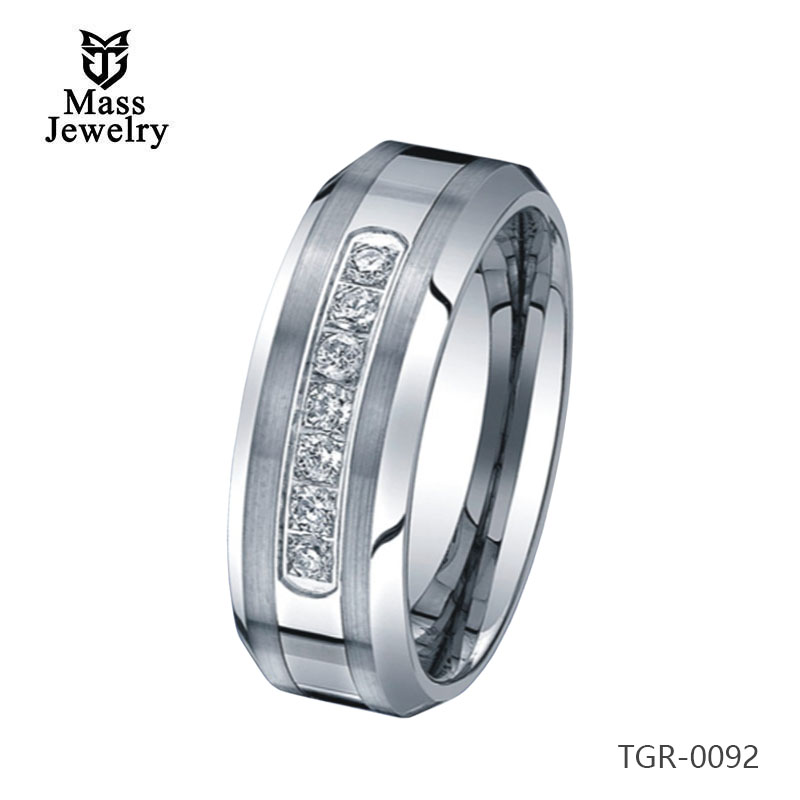 Tungsten Carbide Ring Shiny High Polished Diamond Ring