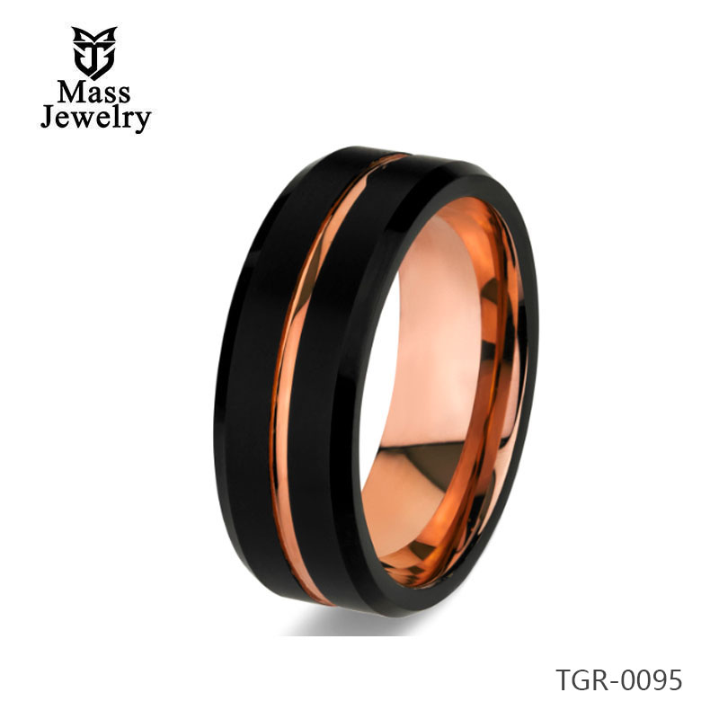 8mm IP Rose Gold Plating Rings Mens Jewelry Tungsten Carbide Ring Tungsten Carbide Ring