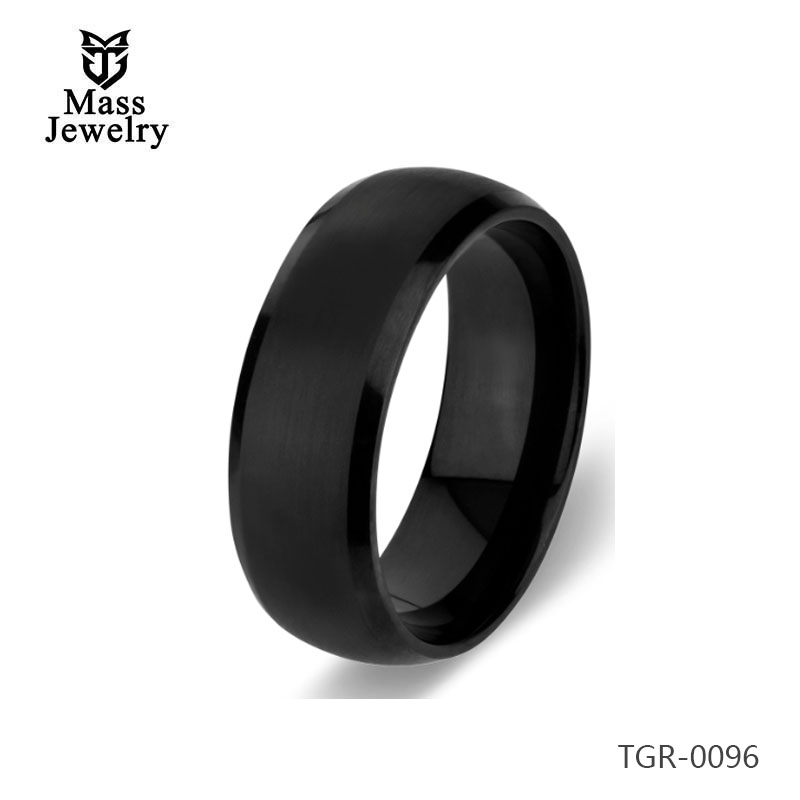 Engrave Ring Black 8mm Wide Men's Tungsten Ring