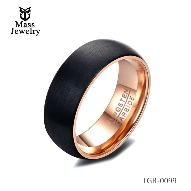 High Quality Black Tungsten Carbide Wedding Band Rings with Brushed Finish