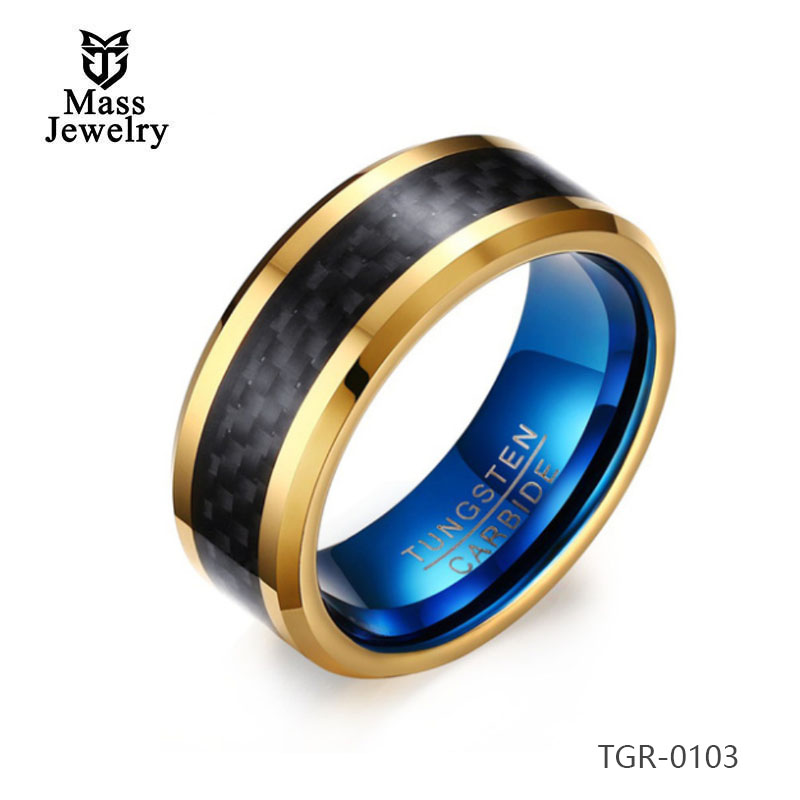 Blue Color Plated Mens Carbon Fiber Tungsten Ring Wedding Engagement Ring