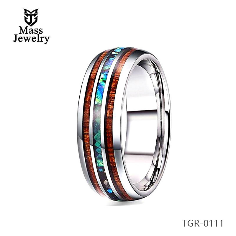 Tungsten Carbide Ring Abalone Shell Inlay Wood Inlay Lady Style
