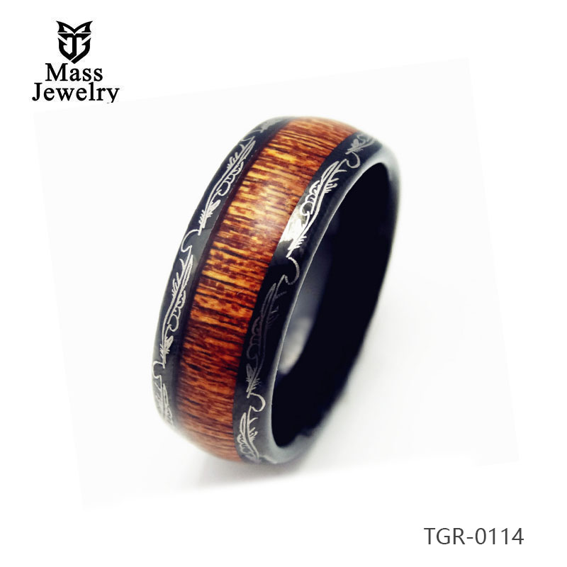 8mm Black Tungsten Carbide Ring with KOA Wood Inlay