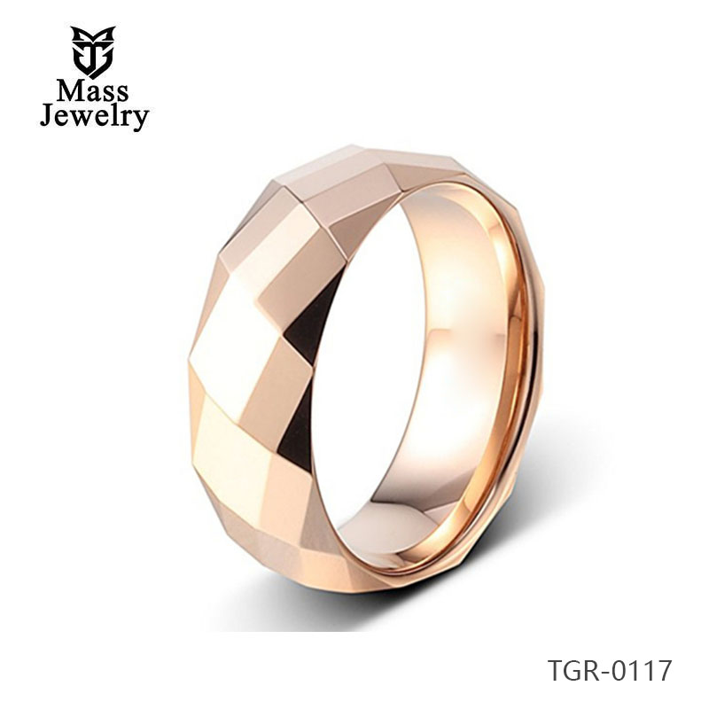 Tungsten Carbide Ring Diamond Cutting Rose Gold Plated