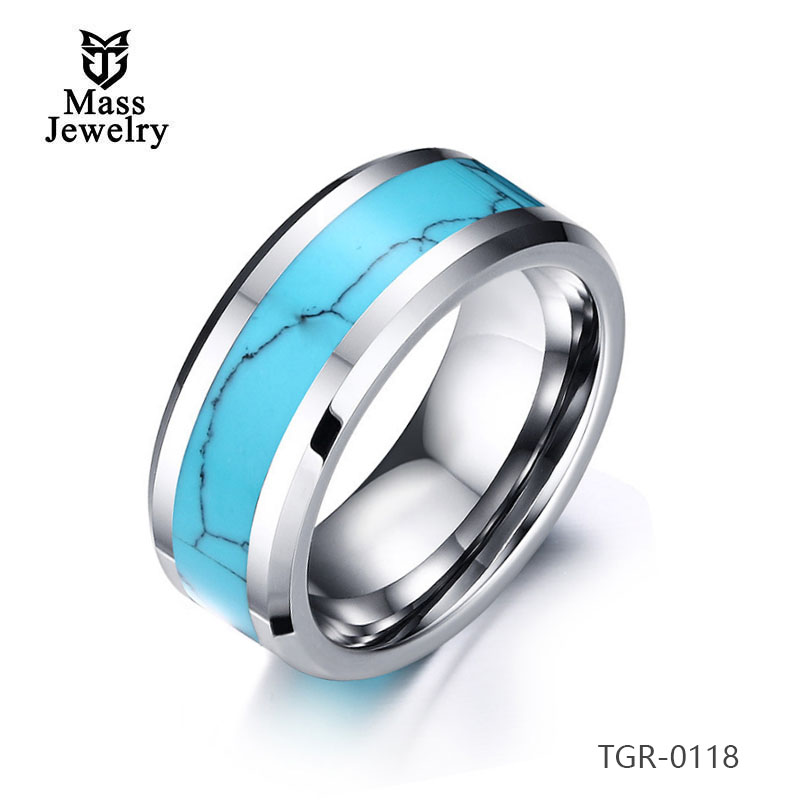 Tungsten Carbide Ring Turquoise Setting Wedding Bands