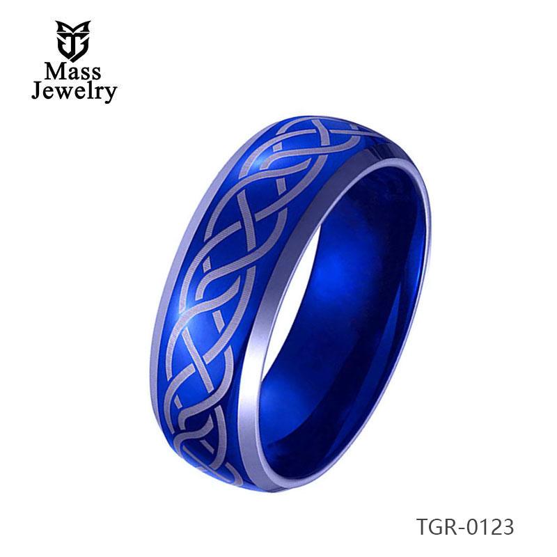Engraving Blue Tungsten Carbide Ring Wedding Bands