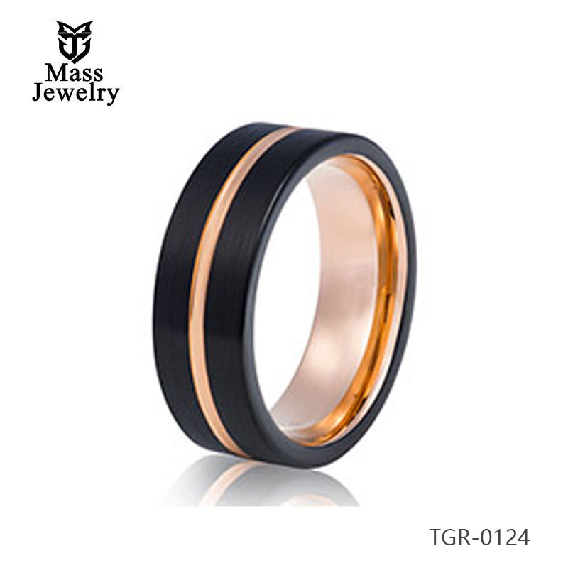 Best Selling Unisex Jewelry 8mm Rose Gold & Black Tungsten Carbide Wedding Band Ring For Men