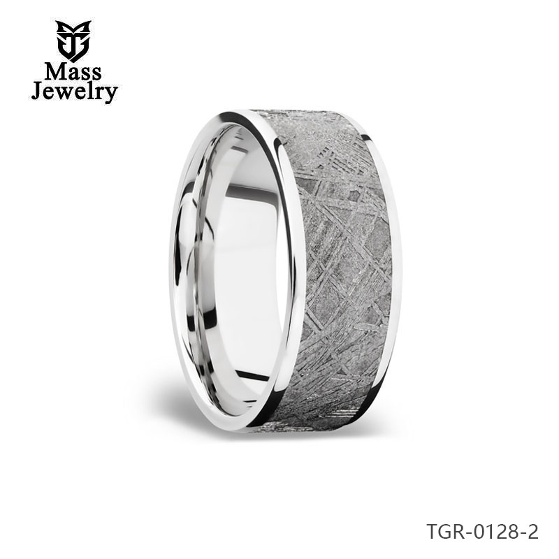 Oem Jewelry Manufacturer Custom Design Black Plated Tungsten Meteorolite Ring