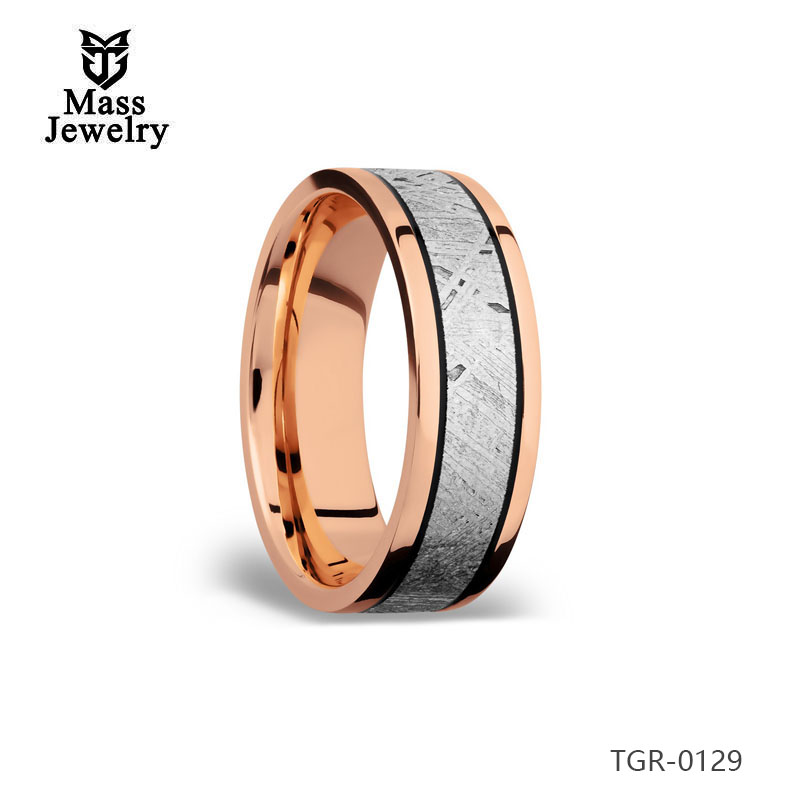 Custom Domed Double Wood Inlay Tungsten Carbide Meteorolite Inlay Ring Women Men Rose Gold Plated