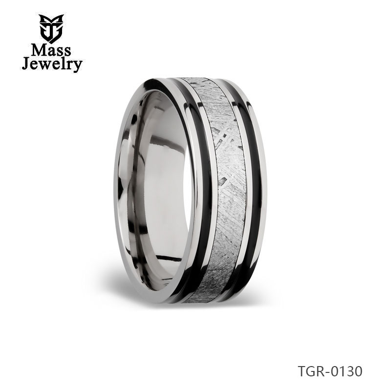 Hottest High-End Black Color Costume Jewelry Tungsten Meteorolite Ring For Men