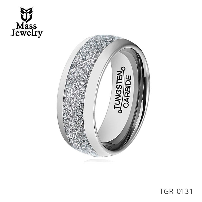 Highly Polished Imitation Meteorolite Inlay Gold Mens Tungsten Carbide Wedding Rings