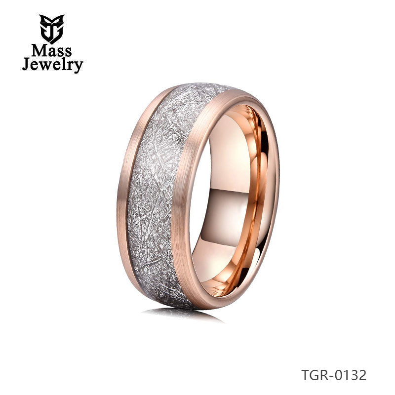 Perfect Circle Rings Matte Finish Tungsten Rings  Imitation Meteorolite Inlay Rose Gold Plated