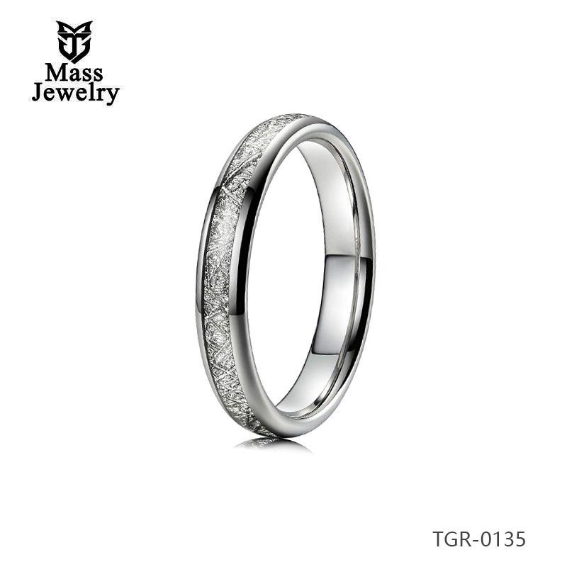 Tungsten Carbide Rings Imitation Meteorolite Polished Silver Edge Engagement Wedding Wholesale