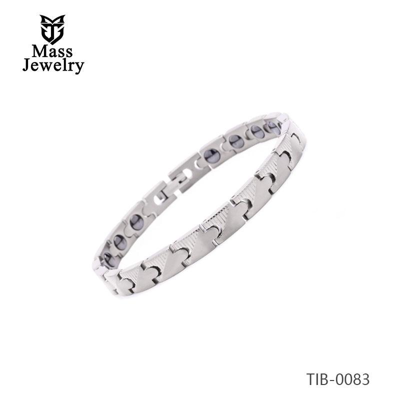 Bio health magnetic energy stainless steel cuff bracelet