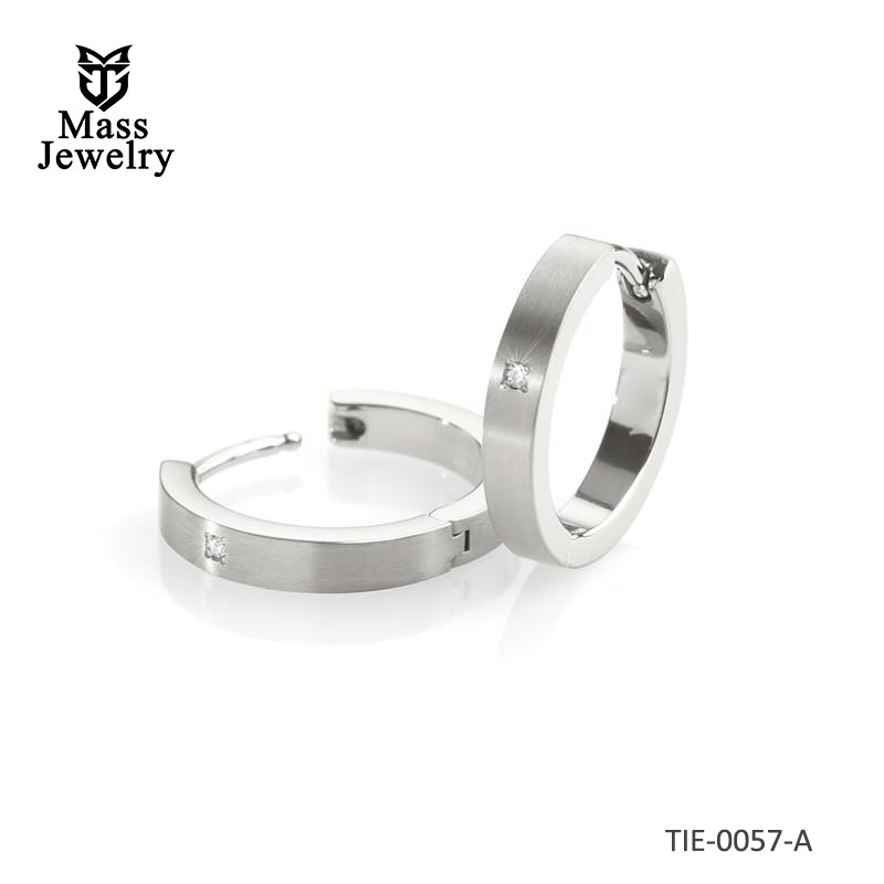 Titanium polished & satin finish, two-tone small hoop earrings, set with a tiny diamond in each
