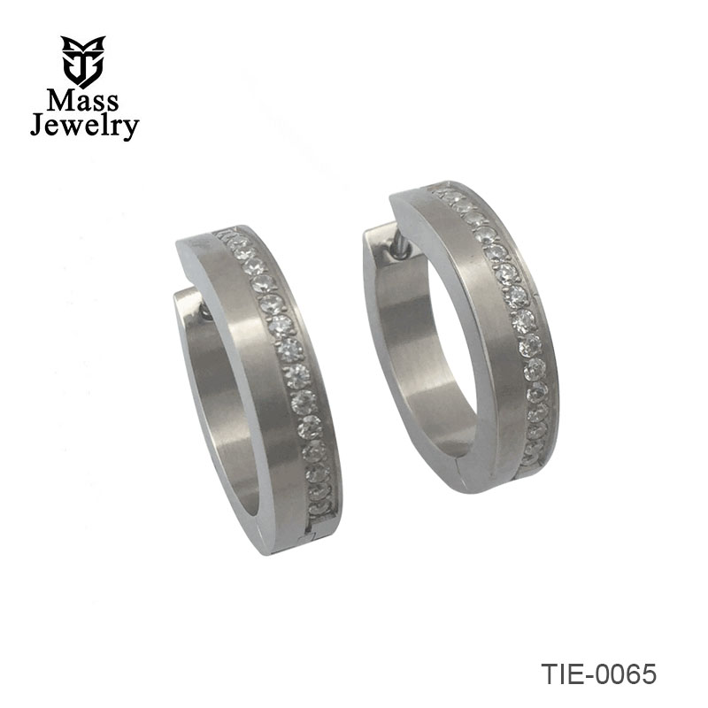 Titanium Double circle earrings, two tone, brush circle and shiny circle