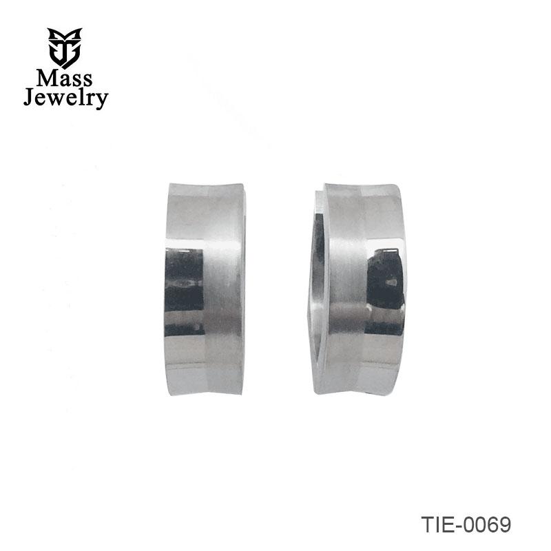Titanium Double circle earrings, brush circle and shiny circle