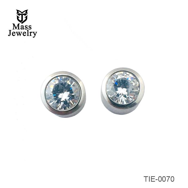 Titanium brushed earrings with big CZ stone