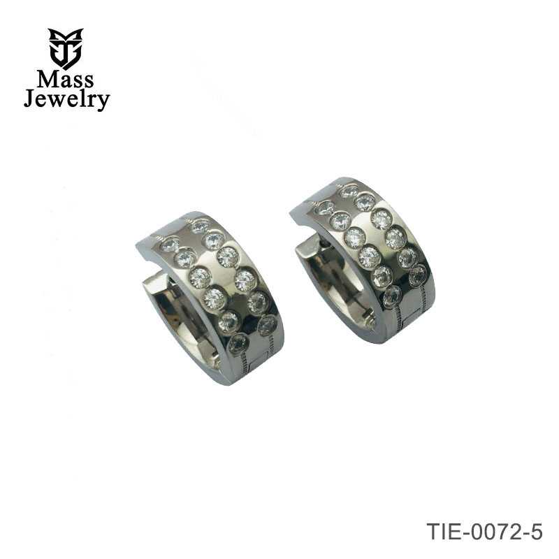Titanium diamond look earrings multi stone CZ two row polished earrings