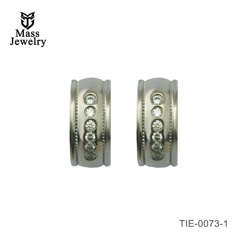 Titanium hinged hoop huggie CZ milgrain design earrings
