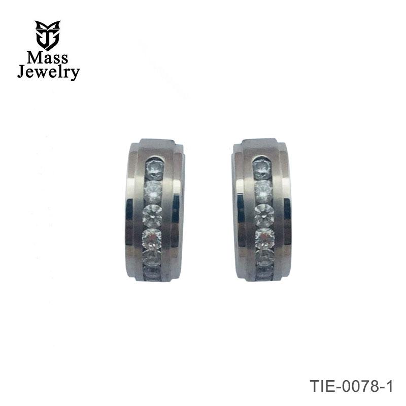 Men's titanium hoop earrings 6 stone huggie matt & polished earrings
