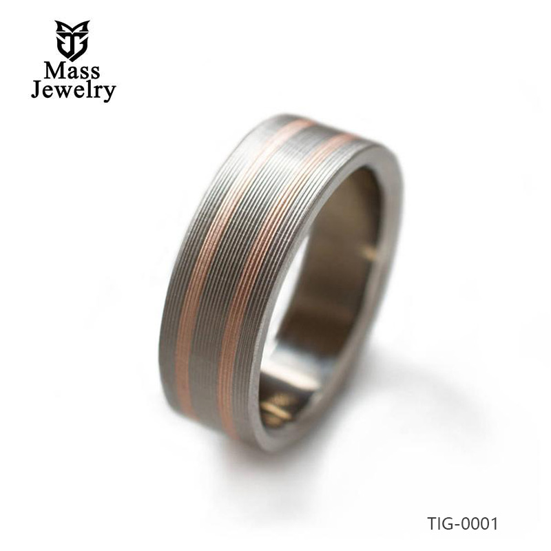Titanium Ring With 14k Rose Gold Inlays