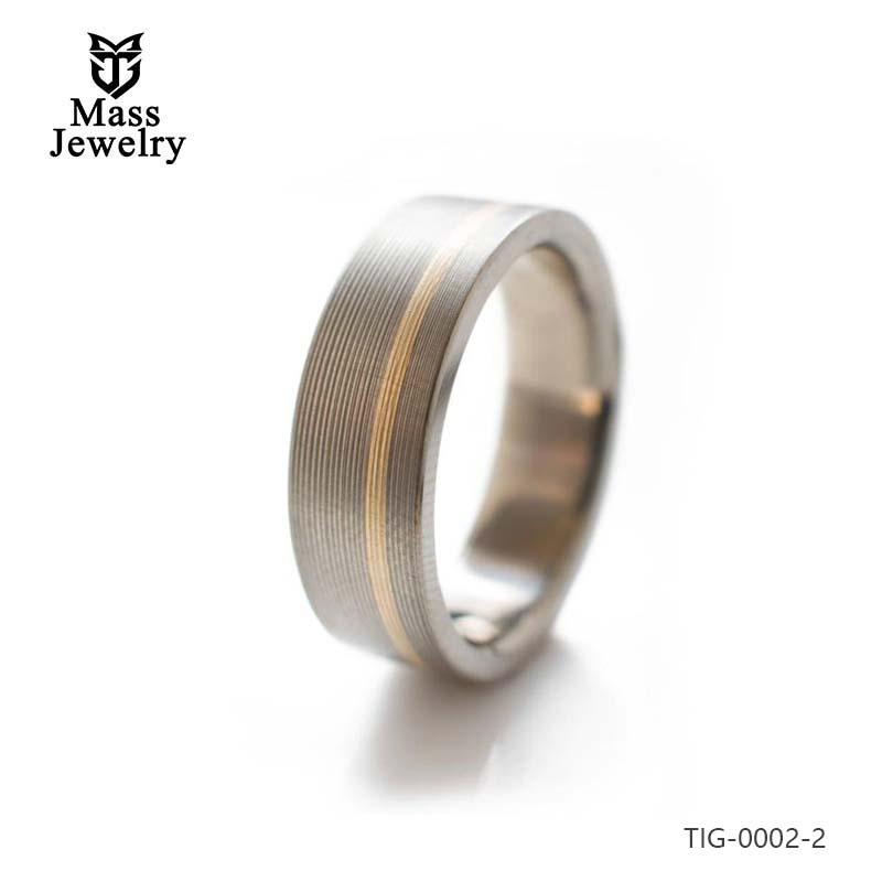 Titanium Ring With Offset 14k Rose Gold Inlay