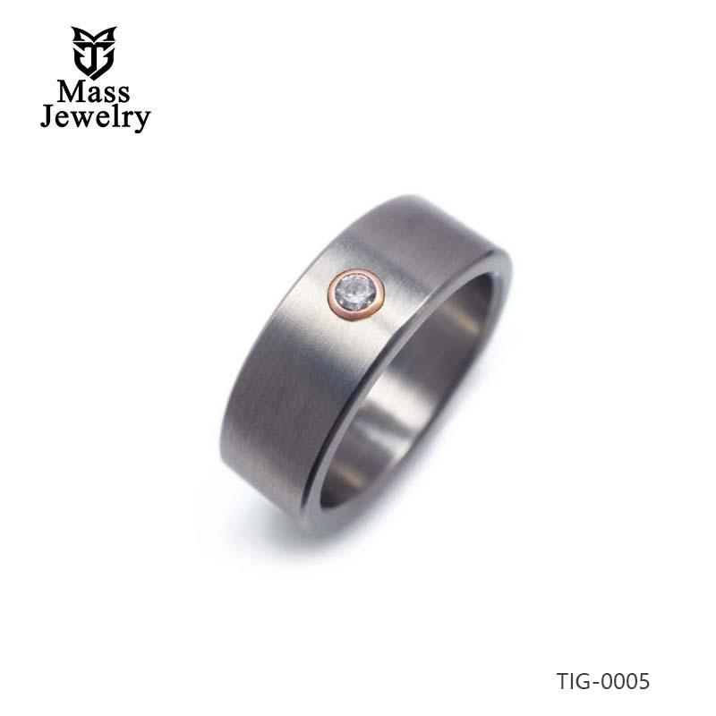 Men's Diamond Wedding Ring In Titanium