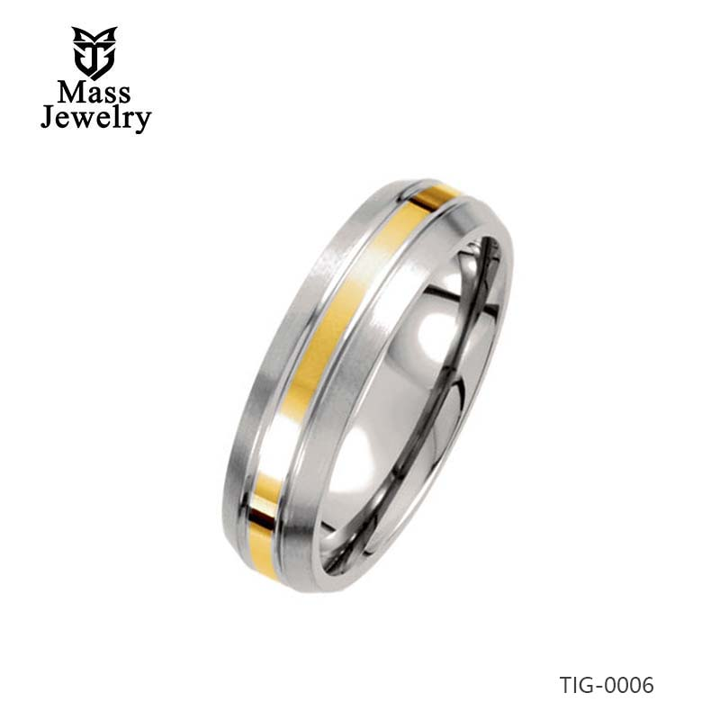 6MM Titanium  Inlay Polished 14k Gold Satin Domed Band