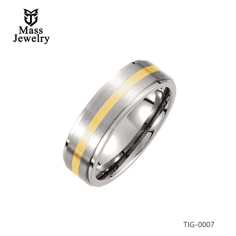 7MM Titanium Inlay 14k Yellow Gold Ridged Band