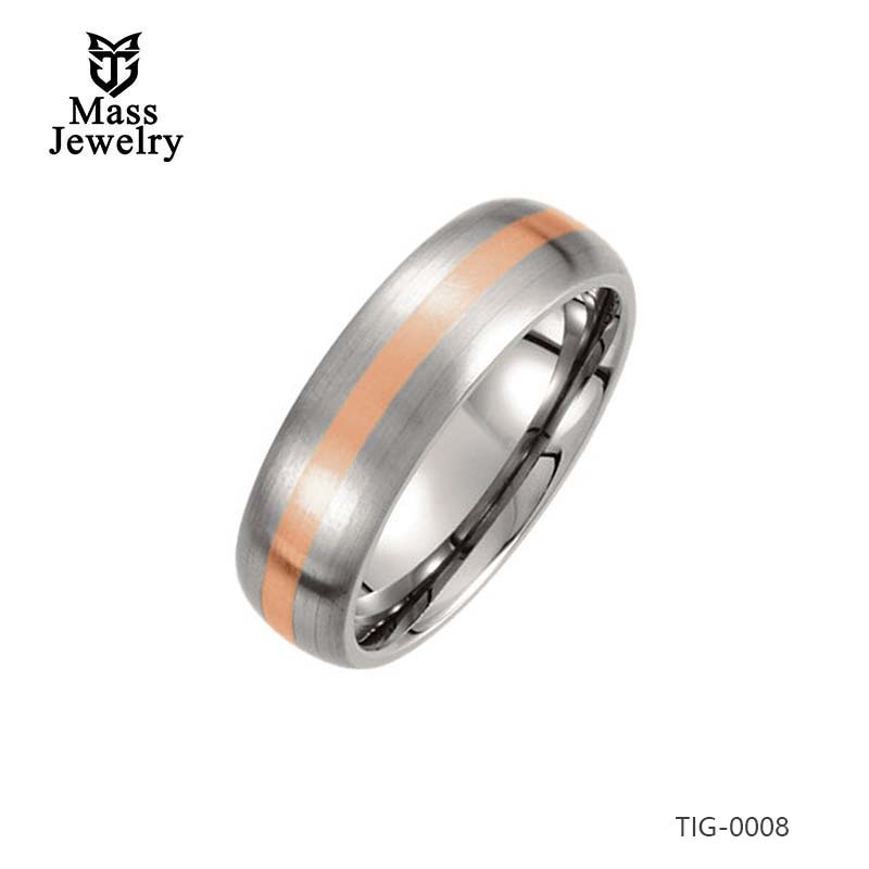 Titanium 7mm Satin 14k Rose Gold Inlay Domed Band