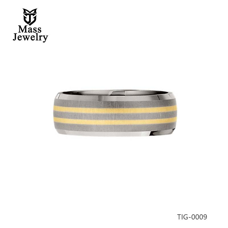 Titanium/14K Yellow Gold 8MM Satin/Polished 14K Gold Inlay Bevelled Band