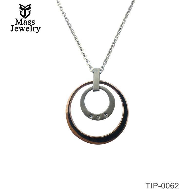 Womens Girls Titanium Jewelry Round Circle Shape Zircon Pendant Necklaces