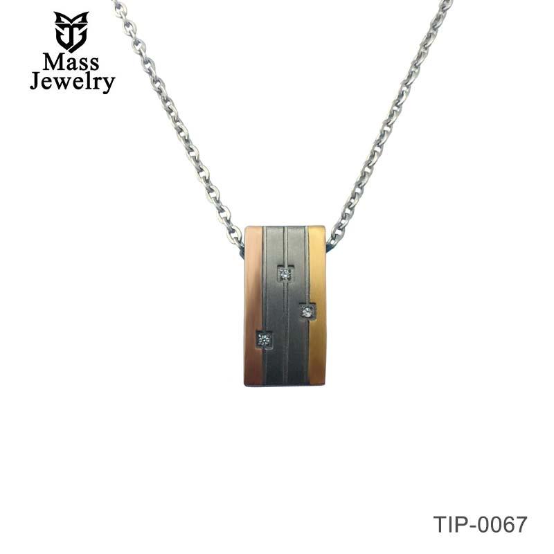 Women Wedge Groove Pure Titanium Pendant Stylish Unique Inlay zircon Jewelry