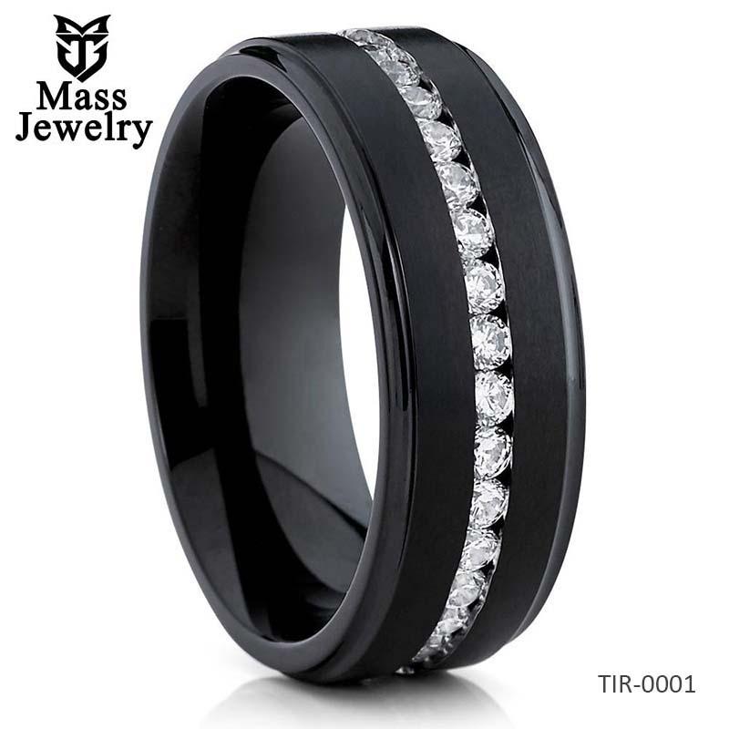 Black Wedding Band Titanium Wedding Ring  CZ Men's Wedding Ring