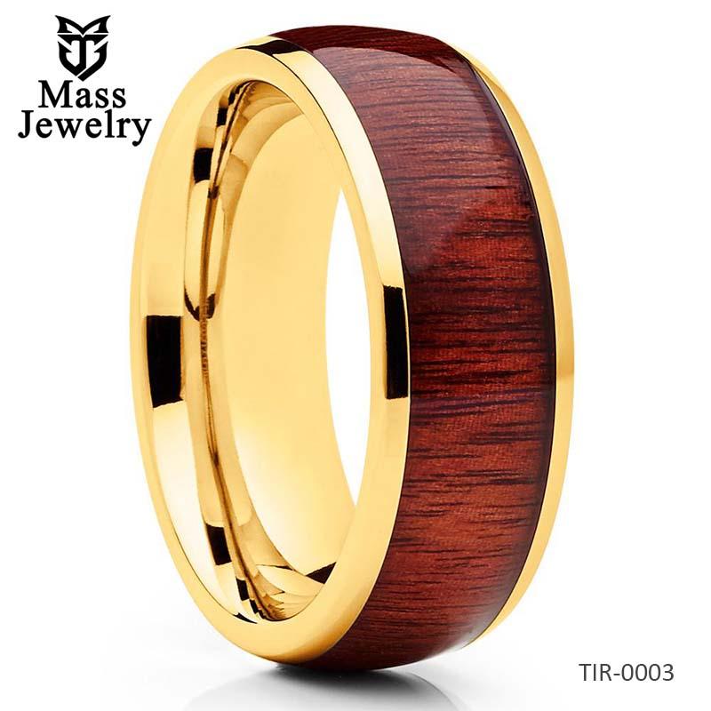 Koa Wood Ring Titanium Wedding Band Koa Wood Band Engagement Ring