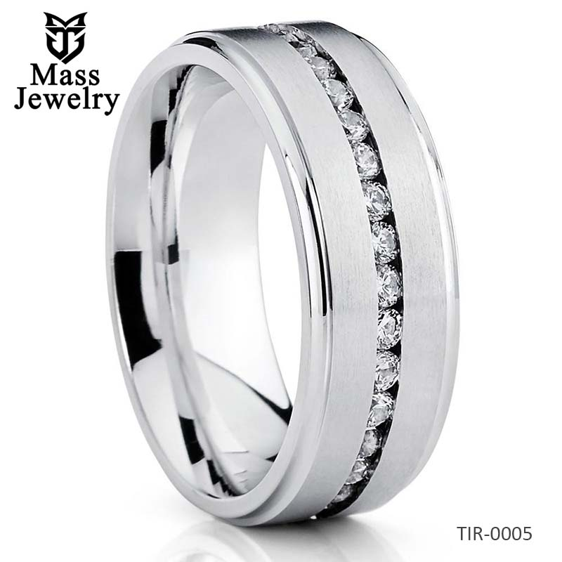 8mm Titanium Wedding Band Men's Titanium Ring CZ Ring