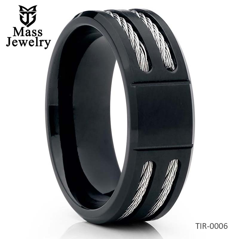 Black Men's Wedding Band Titanium Wedding Ring 8mm Matte Finish