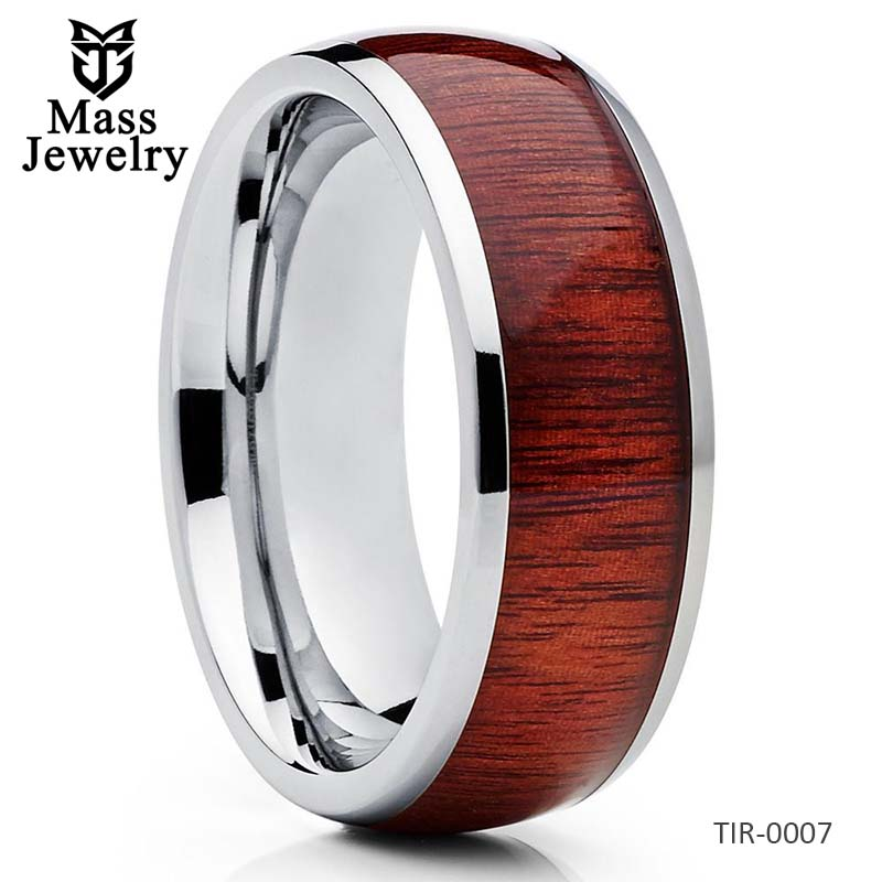 Titanium Wedding Band Koa Ring Titanium Wedding Ring Koa Wood Ring