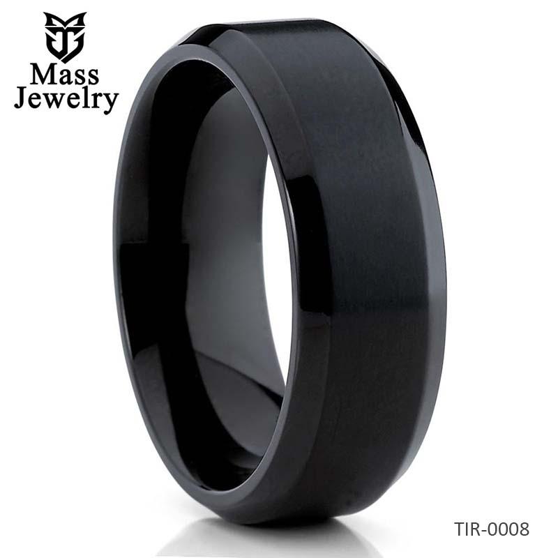 Black Titanium Ring Titanium Wedding Band Matte Ring Black Handmade