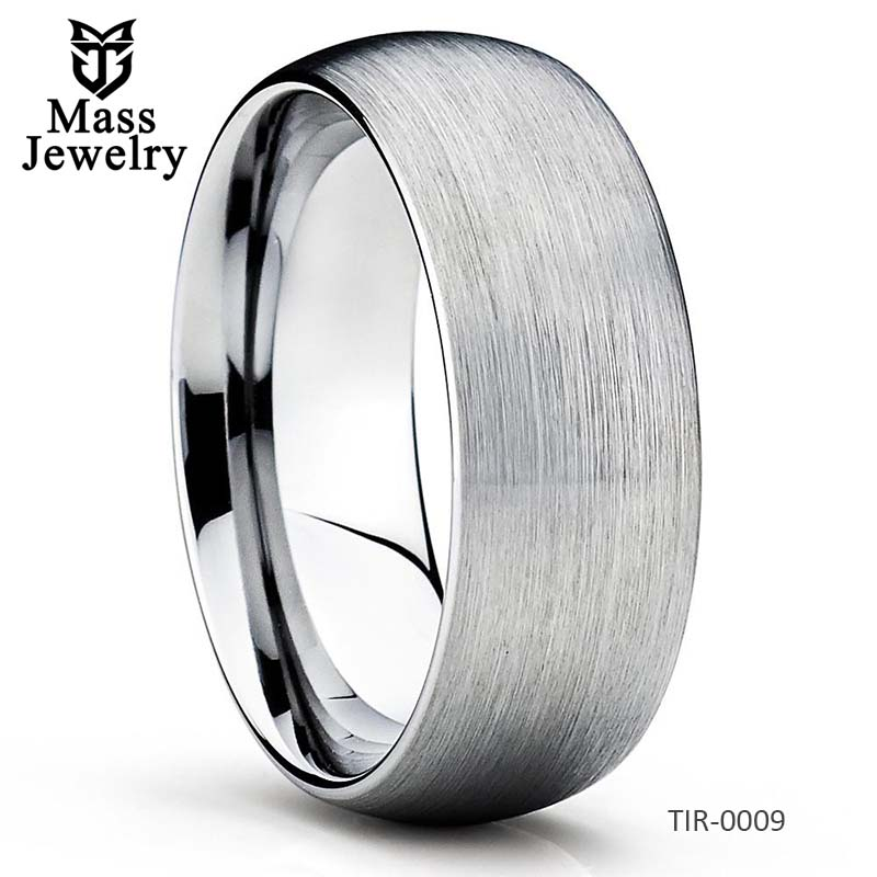 Titanium Wedding Band Grey Titanium Ring Dome Brushed Ring Unique