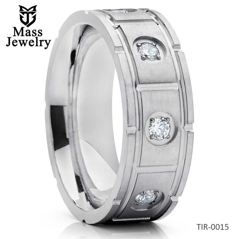 Titanium Wedding Band Silver Titanium Men's Wedding Ring CZ Ring
